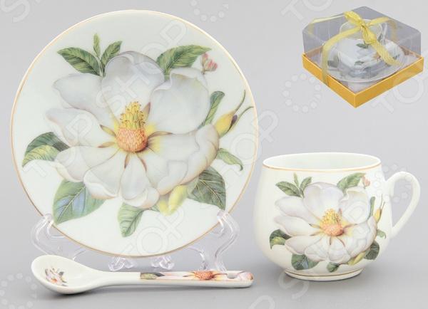 Чашка кофейная с блюдцем и ложкой Elan Gallery «Белый шиповник» Elan Gallery - артикул: 533236