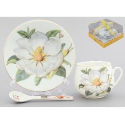 Купить Чашка кофейная с блюдцем и ложкой Elan Gallery «Белый шиповник»