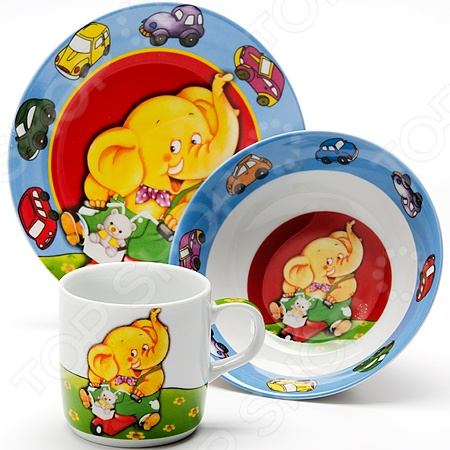Набор посуды для детей Loraine LR-24021 «Слон» набор посуды loraine фея lr 24026 3 предмета детский