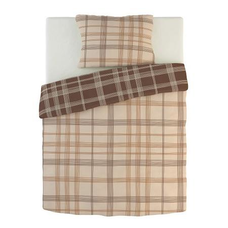 Фото Комплект постельного белья Dormeo Warm Hug. 2-спальный. Цвет: коричневый, кремовый. Вид: клетка