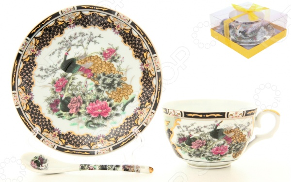Чашка чайная с блюдцем и ложкой Elan Gallery «Павлин на золоте» 180694 неактивный сахарница павлин на золоте 250 мл с ложкой