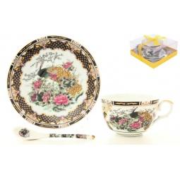 Купить Чашка чайная с блюдцем и ложкой Elan Gallery «Павлин на золоте» 180694