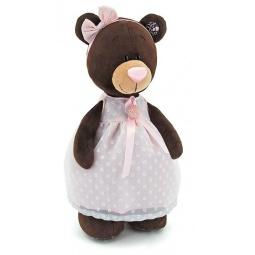 фото Мягкая игрушка Orange стоячая в платье с брошью Milk «Медведь». Размер: 30 см