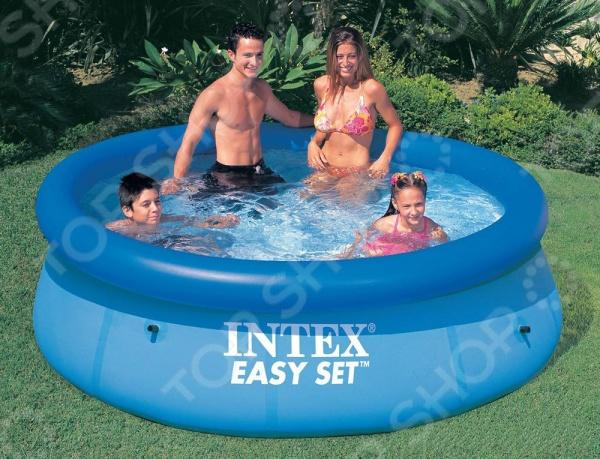 Бассейн надувной семейный с фильтр-насосом Intex с28122 Easy Set тент intex для надувного бассейна easy set 396см 28026