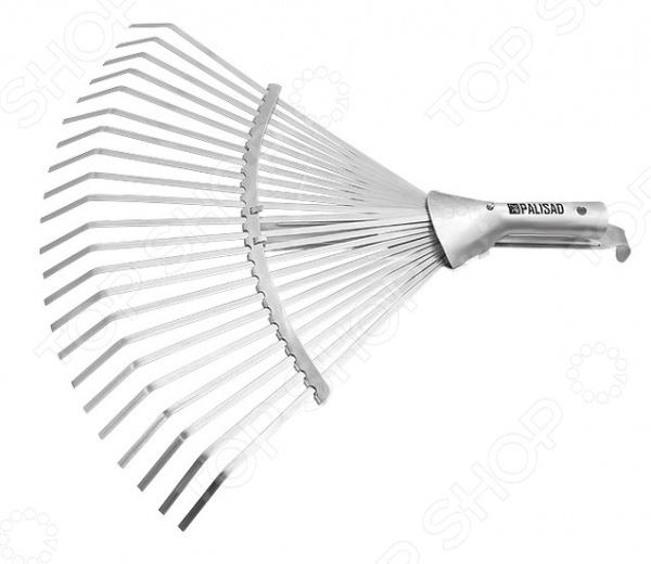 Грабли веерные раздвижные без черенка PALISAD 61767Грабли<br>Грабли веерные раздвижные без черенка PALISAD 61767 это незаменимый инструмент, который необходим каждому владельцу частного дома. С их помощью вы можете собирать скошенную траву, опавшую листву или плоды, использовать в качестве разрыхлителя для почвы. Металлические грабли отличаются повышенной жесткостью, поэтому подойдут для работы с дерном. Можно отметить следующие достоинства этого садового инструмента:  Грабли применяются для чистки газонов от скошенной травы или листьев, при этом, не повреждая сам газон.  Зубья выполнены из пружинной стали 65Г и имеют повышенную жесткость, что обеспечивает удобство в работе.  Вы можете использовать дополнительный черенок диаметром 25 мм.  22 плоских зуба, охват рабочей части от 270 до 440 мм.<br>