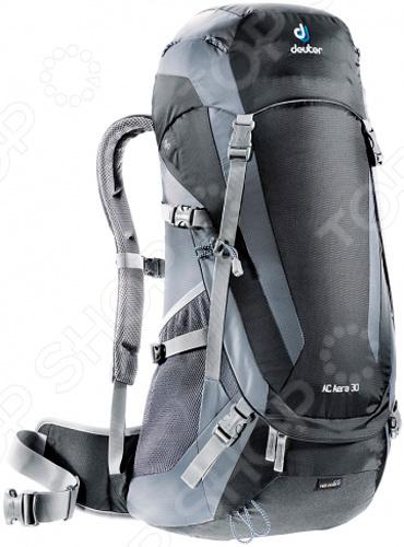Рюкзак походный Deuter AC Aera 30Туристические рюкзаки и аксессуары<br>Рюкзак походный Deuter AC Aera 30 удобное и практичное снаряжение, которое подходит для туристических походов, отдыха, охоты, рыбалки. и однодневного хайкинга. Классический рюкзак с загрузкой сверху отличается большой функциональностью, практичностью и удобством использования. Продуманная подвесная система Advanced Aircomfort не стесняет маневренность, а при помощи регулировки длины плечевых лямок, можно подогнать рюкзак под свои анатомические особенности. Эффективная вентиляции спины и лямок обеспечивает максимальный комфорт во время жарких дней. Высококачественные материалы изготовления обеспечивают надежность и позволяют переносить груз, объемом от 30 до 44 литров, чего вполне достаточно для того, чтобы взять с собой все необходимое. Продуманное расположение отделений внутри и удобные карманы снаружи способствуют наиболее рациональному распределению груза, обеспечивая, тем самым, снижение нагрузки на спину переносящего рюкзак человека. Также предусмотрена возможность прямого доступа в основной объем. Другие особенность данной модели походного рюкзака:  подвесная система с регулировкой нагрузки с мягкими подушечками на поясе;  лямки анатомической форма для комфортного ношения;  специальный карман на молнии для хранения ценных вещей, документов;  отсек для отдельного хранения мокрых и влажных вещей;  боковые сетчатые карманы для комфортного хранения бутылок. Походный рюкзак также совместим с питьевой системой, что очень удобно если во время похода у вас заняты руки. Светоотражатель на фиксаторе питьевой трубки поможет вам воспользоваться системой даже в темное время суток. Также имеется фиксатор для трекинговых палок, съемный чехол для дождя и петли на клапане.<br>