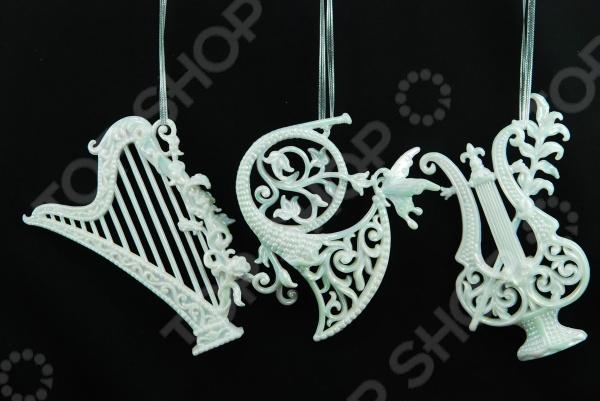 Елочное украшение Crystal Deco «Музыкальные инструменты». В ассортименте Елочное украшение Crystal Deco «Музыкальные инструменты» 1707625 /Белый