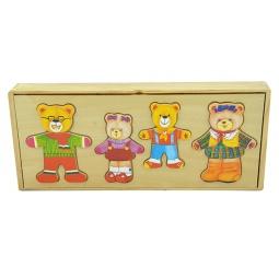 Купить Пазл деревянный с набором одежды ADEX «4 медведя»