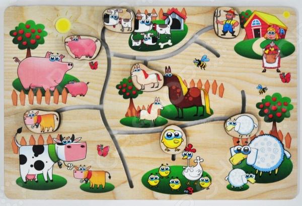 Игра развивающая Мастер игрушек «Лабиринт: На ферме»Другие обучающие и развивающие игры<br>Игра развивающая Мастер игрушек Лабиринт: На ферме великолепная развивающая игра, которая направлена на развитие мышления, визуальной памяти, мелкой моторики рук и пространственного мышления. Эта игра идеально подходит для детей дошкольного возраста. С её помощью вы сможете познакомить вашего малыша с окружающим его миром и сельской жизнью. Лабиринт представляет собой игровое поле с яркими рисунками различных предметов и элементов. Главной задачей малыша будет правильно расставить животных на ферме. Настольная игра выполнена из натурального дерева и окрашена безопасной для детского здоровья краской.<br>