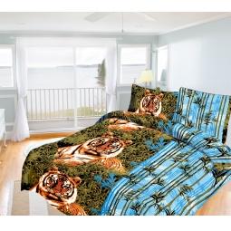 Купить Комплект постельного белья Олеся «Бенгальский тигр». Семейный