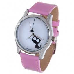 фото Часы наручные Mitya Veselkov «Кошка и паучок» Color. Цвет: сиреневый