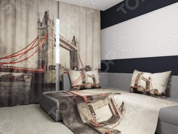 Комплект: фотошторы и покрывало Сирень «Лондонский мост»Фотошторы<br>Комплект: фотошторы и покрывало Сирень Лондонский мост элемент, способный украсить и оживить интерьер любой комнаты. Застелите ваш диван или кровать этим покрывалом, и привычная мебель станет еще уютнее, чем раньше. А шторы, выполненные в едином стиле с покрывалом, станут завершающим штрихом в оформлении комнаты. При этом такой комплект может стать хорошим подарком близкому человеку. В комплекте вы найдете:  Две фотошторы, размер каждой из которых составляет 145х260 см 3 см .  Покрывало размером 145х220 см 3 см . Оцените основные преимущества комплекта из коллекции бренда Сирень :  Оригинальный дизайн придаст изюминку интерьеру.  Сделано из качественных износостойких материалов. Изображение на ткани долго не линяет и не выгорает.  Рисунок нанесен на материал при помощи специальной технологии, создающей эффект 3D. Смотрится очень эффектно. Покрывало и шторы выполнены из ткани габардин, состоящей на 100 из полиэстера. На поверхности полотна заметны диагональные рубчики, полученные в результате саржевого плетения в процессе производства. В результате изделие отличается своей прочностью и долговечностью, сохраняет первоначальный вид в течение длительного времени. Рекомендуется ручная стирка при температуре 30 C или в стиральной машине в деликатном режиме. Шторы крепятся при помощи шторной ленты под крючки .<br>