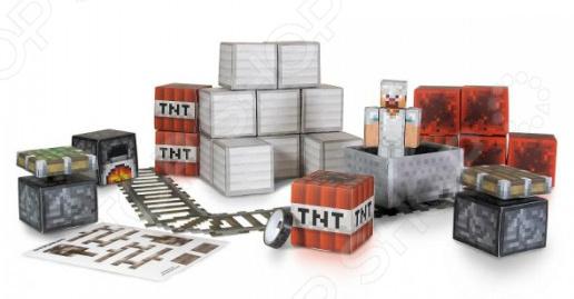 Конструктор бумажный Minecraft «Вагонетка и ТНТ»Другие виды конструкторов<br>Конструктор бумажный Minecraft Вагонетка и ТНТ подарочный комплект для маленьких строителей, состоящий из множества деталей, которые могут быть собраны вместе. Используя ящики с опасной взрывчаткой вы сможете создать шахту, а проложив рельсы для вагонетки. Внутри набора:  4 листа конструктора  1 бумажная лента  16 блоков с наклейками. Детали игры выдавливаются из листа и собираются между собой. Детский конструктор является достаточно практичным учебным пособием, так как он развивает память, мышление, логику, фантазию, а также моторику рук. Сборка конструктора подарит ребенку массу удовольствия и приятное времяпрепровождение.<br>