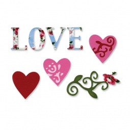 фото Набор форм для вырубки Sizzix Sizzlits Die Любовь 3