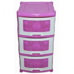 фото Комод 3-х секционный Violet 353. Цвет: белый, розовый