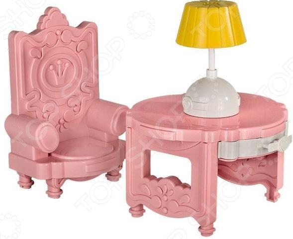 Мебель для куклы Форма «Кабинет Сонечка»Кукольные домики. Мебель<br>Мебель для куклы Форма Кабинет Сонечка элементы интерьера игрушечного мира для кукол. В набор входит столик и кресло декорированные необычным рисунком, а также настольная лампа. Стол имеет потайной выдвижной ящичек, который понравится каждой девочке. С помощью таких элементов можно будет создать кабинет для куклы, где ей предстоит работать и принимать важные решения. Набор станет прекрасным дополнением к коллекции игрушек каждой девочки и позволит разыграть интересные сценарии со своими игрушками.<br>