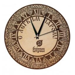 фото Часы кварцевые Банные штучки «С лёгким паром (берёзовые листья)»