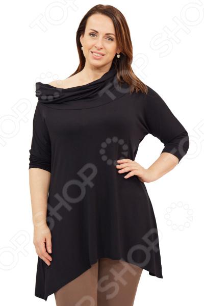 Туника Матекс «Инара». Цвет: черныйТуники<br>Туника Матекс Инара незаменимая вещь в гардеробе модницы. Подойдет для женщин практически любой комплекции, ведь особенности кроя помогают скрыть недостатки и подчеркнуть достоинства фигуры. Эта блуза отлично подойдет для повседневного использования.  Универсальная длина до середины бедра и чуть расклешенный силуэт скрывают недостатки и подчеркивают достоинства, поэтому туника подходит женщинам с любой фигурой. Низ асимметричный.  Рукава на манжетах.  Тунику можно носить, как вам больше нравится: со спущенным плечом, либо открыть область декольте, можно как с капюшоном.  На фото с брюками Миледи . Туника изготовлена из высококачественного трикотажа 95 вискоза, 5 полиэстер . Ткань не скатывается и не теряет форму после стирки.<br>