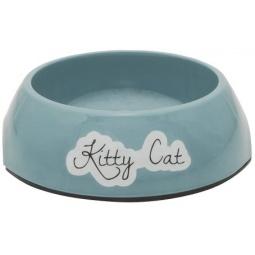 фото Миска для кошек нескользящая Beeztees Rounded. Kitty Cat. Цвет: голубой