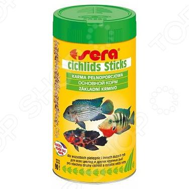 Корм для цихлид и других крупных рыб Sera Cichlids SticksВитамины и добавки. Корм для рыб<br>Корм для цихлид и других крупных рыб Sera Cichlids Sticks сбалансированное питание, которое идеально подходит для всех видов цихлид. Корм выполнен в виде палочек, произведенных путем тщательной и деликатной обработки первоначального сырья. Рацион отличается высоким содержанием легко усваиваемого белка, зародышей пшеницы и жирными кислотами Омега, поэтому он легко усваивается и особенно привлекателен для рыб. Палочки надолго сохраняют свою форму, не разбухают и не расщепляются в воде. Благодаря тому, что в составе не содержатся искусственные красители, корм не будет менять цвет воды в аквариуме и загрязнять её.<br>