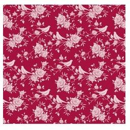 фото Отрез ткани Tilda Птички и розы. Цвет: красный