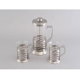 фото Набор: чайник заварочный с поршнем и 2 кружки для кофе Gipfel GLACIER-TOULOUSE 7180