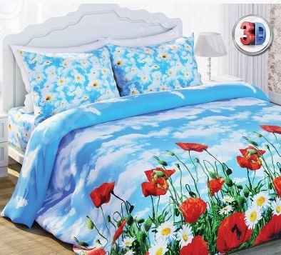 Комплект постельного белья с эффектом 3D Любимы дом Солнечный мак. 1,5-спальный постельное белье эго комплект 1 5 спальный полисатин