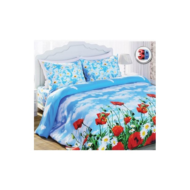 фото Комплект постельного белья с эффектом 3D Любимый дом Солнечный мак. 1,5-спальный