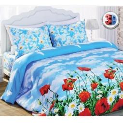 Купить Комплект постельного белья с эффектом 3D Любимый дом Солнечный мак. 1,5-спальный