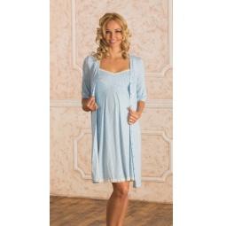 Купить Комплект: халат и сорочка для беременных Nuova Vita 914.2. Цвет: голубой
