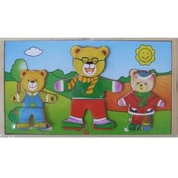 Купить Пазл деревянный с набором одежды ADEX «3 медведя №2»