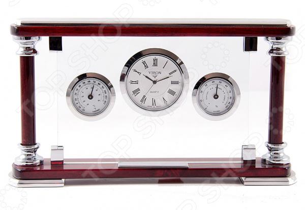 Набор сувенирный настольный Viron 28251Подарки для коллеги<br>Набор сувенирный настольный Viron 28251 это оригинальный и стильный аксессуар, который станет украшением интерьера вашего офиса. Представленную модель можно разместить на рабочем столе, полке с документами или окне, чтобы иметь возможность следить за временем или температурой в помещении. Классическая форма и универсальная цветовая гамма изделия, придадут любому помещению еще большей гармонии, эмоциональной наполненности и добавят нотку деловитости. Набор сувенирный настольный Viron 28251 является прекрасным подарком для ваших друзей или деловых партнеров. Правила ухода: регулярно вытирать пыль сухой, мягкой тканью.<br>
