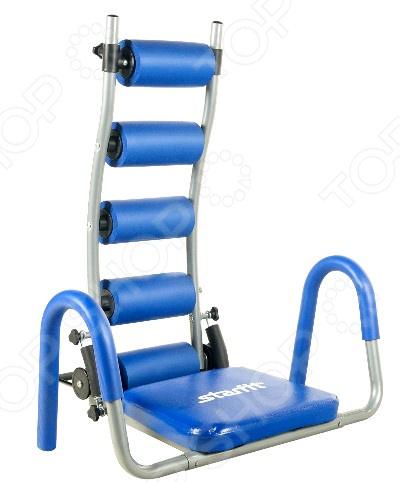 Тренажер для пресса Star Fit HT-301 AB RocketТренажеры для пресса<br>Тренажер для пресса Star Fit HT-301 AB Rockett отличный тренажер для силовых упражнений на мышц живота. Предназначен для спортивных залов и домашнего использования. Конструкция тренажера позволяет выполнять комплексные упражнения. Тренажер способствует эффективной тренировке мышц пресса. За счет специальных амортизаторов тренажер помогает облегчить подъемы туловища, что позволяет заниматься на нем даже нетренированным и или пожилым людям. А поворачивающееся сидение позволяет производить движения тазобедренного сустава без необходимости отрывать ягодицы от его поверхности, что в свою очень облегчает выполнение боковых скручиваний на пресс. Тренажер развивает и укрепляет пресс, уменьшает напряжение мышц шеи, увеличивает эффективность наклонов, массажирует и поддерживает спину. Сделан из прочной стали, имеет удобные мягкие ручки и сиденье, на задней стороне есть цилиндры. Складная конструкция поможет быстро собрать и разобрать тренажер.<br>