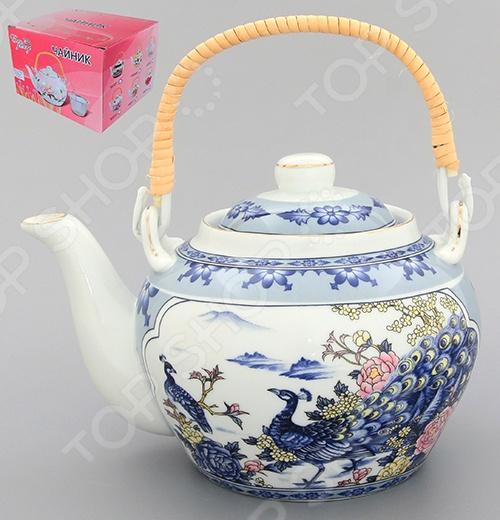 Чайник с ситечком и ручкой Elan Gallery «Павлин на серебре» 180504