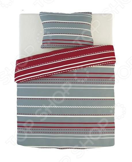 Фото Комплект постельного белья Dormeo Warm Hug. 1-спальный. Цвет: красный, серый. Вид: полоска