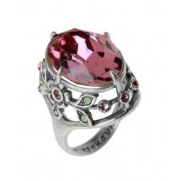 фото Кольцо Jenavi Эльвен. Вставка: Swarovski розовые и зеленые кристаллы. Размер: 16