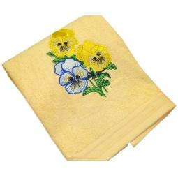 фото Полотенце подарочное с вышивкой TAC Pansies. Цвет: желтый