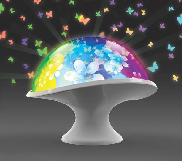Светильник-проектор Uncle Milton Лунный гриб - уникальный светильник, который проецирует изображение бабочек и цветов на стены комнаты. Имеет 8 световых программ. Питается от батареек, которые необходимо приобрести отдельно. Светильник позволяет создать настоящее волшебное световое шоу. Рекомендуется располагать в комнату детям в возрасте от 5 лет. Его можно будет разместить в любом удобном месте. Имеет функцию автоматического отключения. С таким светильником будет приятно засыпать, наблюдая за проецируемыми изображениями.