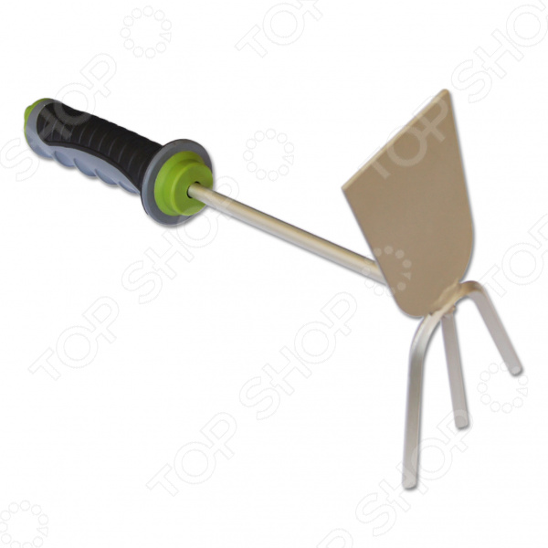 Мотыжка EUROTEX 090210-002Мотыги<br>Мотыжка EUROTEX 090210-002 комбинированный ручной инструмент для садоводства и огородничества. С ее помощью вы сможете качественнее ухаживать за своим садом. Инструмент предназначен для рыхления и аэрации почвы. Также, вы сможете прополоть им землю на небольших клумбах и грядках. Мотыжка выполнена из высококачественной инструментальной стали с защитным эмалевым покрытием от коррозии. Эргономичная двухкомпонентная ручка позволяет комфортно работать и избегать появления мозолей на руках. Рабочая часть оснащена тремя зубцами для упрощения процесса рыхления. Ручная мотыжка станет превосходным подарком как садоводу-любителю, так и профессиональному дачнику.<br>