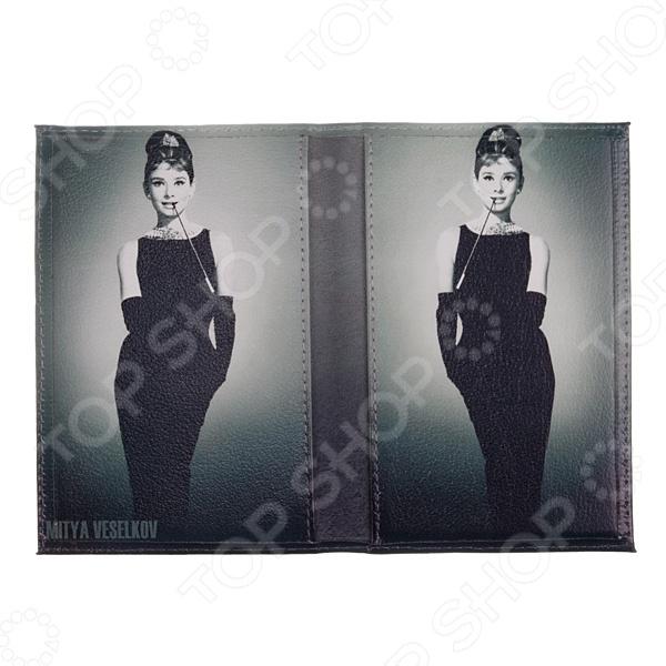 Обложка для паспорта двухсторонняя Mitya Veselkov «Одри в черном платье» обложка для автодокументов кожаная mitya veselkov одри в черном платье