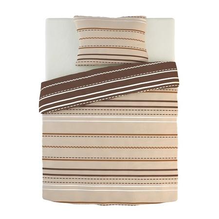 Фото Комплект постельного белья Dormeo Warm Hug. 2-спальный. Цвет: коричневый, кремовый. Вид: полоска