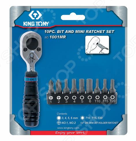 Набор бит King Tony KT-1001MRНаборы бит и насадок<br>Набор бит King Tony KT-1001MR комплект из насадок для монтажа крепежных элементов, резьбовых соединений, шурупов и прочего. Биты изготовлены из прочного материала. Предназначены для работы с крепежом, с профилем TORX, HEX, PH. В набор входит трещотка для бит реверсивная 1 4 на 72 зуба. Биты 1 4 :  H3, H4, H5, H6,  PH1, PH2,  T10, T15, T20.<br>