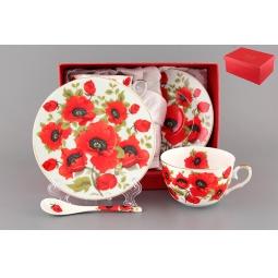Купить Чайная пара с ложками Elan Gallery «Маки» 180798