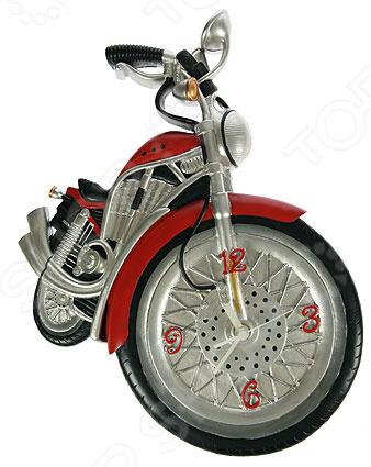 Часы настенные «Мотоцикл» 224863Часы настенные<br>Часы уже давно перестали быть предметом исключительно практического назначения. Сегодня они являются еще и отличным элементом декора, который вполне может стать настоящей изюминкой вашего интерьера. Разнообразие форм, цветов и стилистических решений способны удовлетворить вкус даже самых требовательных и взыскательных покупателей. Часы настенные Мотоцикл 224863 это сочетание непревзойденного качества и стильного современного дизайна. Они прекрасно впишутся в интерьер гостиной или спальни, добавив ему яркости и нетривиальности. Часы выполнены в виде мотоцикла, переднее колесо которого стилизовано под циферблат со стрелками. Предусмотрен аналоговый способ отражения времени. Часы работают от батареек типа АА приобретаются отдельно .<br>