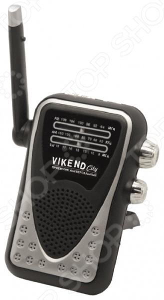 Радиоприемник СИГНАЛ Vikend CityРадиоприемники<br>Радиоприемник СИГНАЛ Vikend City компактное переносное устройство с памятью на один канал и одним мощным динамиком. Радиоприемник оснащен аналоговым тюнером с возможностью приема расширенных FM, AM и SW диапазонов. Питание устройства осуществляется от 2 батареек типа AA. На корпусе имеется удобная клипса для крепления радиоприемника на одежду, есть дополнительная подставка и разъем для наушников 3,5мм . Корпус изготовлен из прочного пластика в серебристо-черной расцветке. Напряжение питания 3В, телескопическая антенна, аналоговая настройка частоты. Диапазон принимаемых частот:  FM 64-108 Мгц;  AM 530-1600 Кгц;  SW 8-18Мгц.<br>