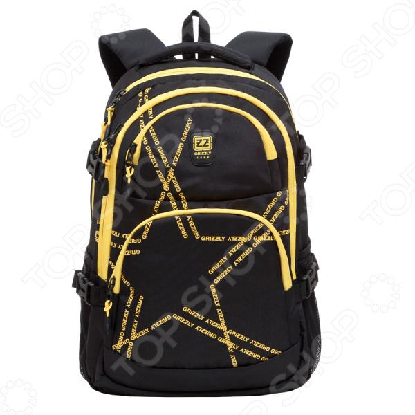 Рюкзак молодежный Grizzly RU-618-2Рюкзаки<br>Удобный и практичный аксессуар для тех, кто ценит удобство и качетсво! Рюкзак молодежный Grizzly RU-618-2 практичный городской рюкзак, который идеально подойдет, как для школьников, так и для студентов и простых офисных работников. Рюкзак оформлен двумя большими отделениями, куда можно без труда сложить стандартную папку, блокноты, тетради и документы. Два объемных передних кармана на молнии идеально подходят для органайзера, где все ручки, основные документы и телефон находятся в пределах досягаемости. Также предусмотрен карман-пенал для карандашей. Мягкая основа рюкзака выполнена из высококачественного материала, который придает изделию дополнительную прочность и практичность.  Другие особенности данной модели городского рюкзака от бренда Grizzly:  анатомическая спинка с системой вентиляции обеспечивает прекрасное прохождение воздуха и надежное прилегание к спине;  укрепленная спинка;  мягкие вентилируемые лямки позволяют равномерно распределить нагрузку на спину;  для более надежной фиксации предусмотрено нагрудное крепление, которые можно самостоятельно регулировать;  боковые стяжки-фиксаторы для регулирования объема рюкзака;  выполнен из прочного и высококачественного материала, который отличается своей прекрасной устойчивостью к истиранию и воздействию атмосферных изменений.  Продуманные детали для вашего удобства! Укрепленные лямки обеспечивают долговечность рюкзака, так как он легко выдерживает даже значительный вес груза. Небольшая мягкая и укрепленная ручка позволяет носить рюкзак в руках, что очень удобно в общественном транспорте. Боковые карманы из сетки предназначены для удобного хранения воды. Во внутренний подвесной карман на молнии можно сложить важные и ценные мелочи. Изделие отличается не только своими прекрасными эксплуатационными характеристиками, но и оригинальным современным дизайном. Такой рюкзак можно взять с собой не только на учебе или работу, но и в путешествие или в спортивный зал.  Уход: Прот