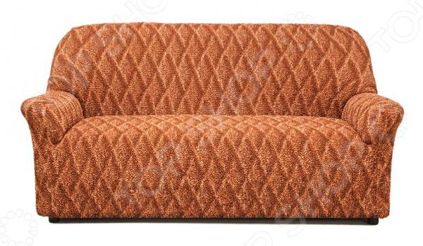 Натяжной чехол на трехместный диван «Виста. Ромбы»Чехлы на диваны<br>Ваша старая мебель перестала радовать глаз Не торопитесь её выкидывать, лучше задумайтесь о покупке съемного, натяжного чехла! Он позволит подарить старой мебели вторую жизнь и вернуть былую привлекательность. К тому же, такие практичные чехлы не только позволят менять интерьер в зависимости от вашего настроения, времени года и торжества, но и надежно защитят поверхность мягкой мебели от бытового протирания, случайных пятен и шерсти домашних животных.  Привнесите в интерьер что-то новое! Натяжной чехол на трехместный диван Виста. Ромбы идеальный выбор для тех, кто ценит яркие, насыщенные и теплые тона в интерьере. Яркая модель сочного оранжевого цвета с контрастным рисунком в виде ромбов будет уместно смотреться в любом помещении: в гостиной, детской, прихожей, спальне и на кухне. Приятная цветовая гамма не только разбавит однотонный интерьер, но и привнесет немного тепла, уюта и солнечного настроения. Особенность чехла в том, что даже после растягивания рисунок сохраняется!  Натяжной чехол Ромбы прекрасно дополнит интерьеры, выполненные в любом стиле: от классического и неоклассического до более экстравагантных этнических и техно-стилей. Комбинируйте, экспериментируйте, этот натяжной чехол для вашего дивана будет смотреться всегда роскошно и уютно! Сядет точно по фигуре ! Уникальность данного чехла заключается в том, что его можно использовать с любыми трехместными диванами. Он отлично сядет даже на диваны нестандартных форм и габаритов, например, с объемными и необычными подлокотниками, высокой, объемной спинкой. Прочный и качественный материал, из которого выполнен чехол, прекрасно тянется за счет добавления эластичных нитей. Цельная конструкция чехла полностью облегает диван, а излишки ткани можно легко спрятать на стыках между спинкой и сиденьем.  Уникальная ткань также обладает рядом других достоинств, которые вы сможете оценить:  приятна на ощупь за счет содержания натуральных хлопковых воло
