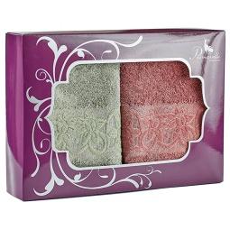 фото Набор из 2-х полотенец Primavelle Deni. Размер: 50х90 см. Цвет: темно-розовый, зеленый чай