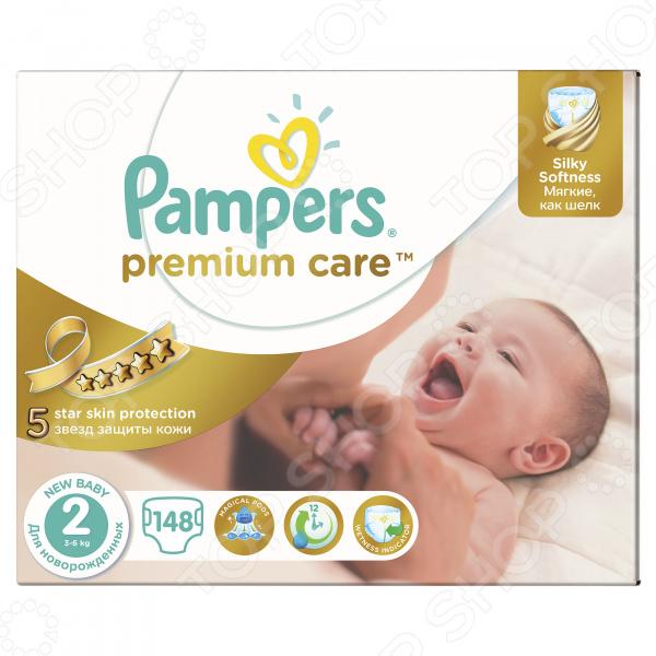 Подгузники Pampers Premium Care 3-6 кг, размер 2, 148 шт.Подгузники<br>Pampers Premium Care это отличный и экономичный вариант при выборе подгузников для вашего малыша. Они изготовлены из высококачественных материалов, которые обладают не только превосходными впитывающими способностями, но и обеспечивают равномерную циркуляцию воздуха. Три впитывающих канала способны удерживать жидкость до 12 часов. В таких подгузниках ребенок не будет чувствовать стеснения в движениях во время игр или кормления. Преимущества Pampers Premium Care:  Защита от влаги до 12 часов.  Дышащие материалы обеспечивают равномерную циркуляцию воздуха.  Внутренний слой имеет ромбовидную текстуру для создания ощущения мягкости и воздушности.  Индикатор влаги, который вовремя оповестит о том, что подгузник пора сменить полоска, которая меняет желтый цвет на синий .  Тянущиеся боковинки гарантируют нежную фиксацию и надежно защищают от протеканий.  Специальный вырез для пупка способствует лучшему заживлению пупочной раны.<br>