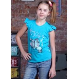 фото Футболка для девочек Detiland SS15-UBL-GTS-946. Цвет: бирюзовый. Рост: 128 см